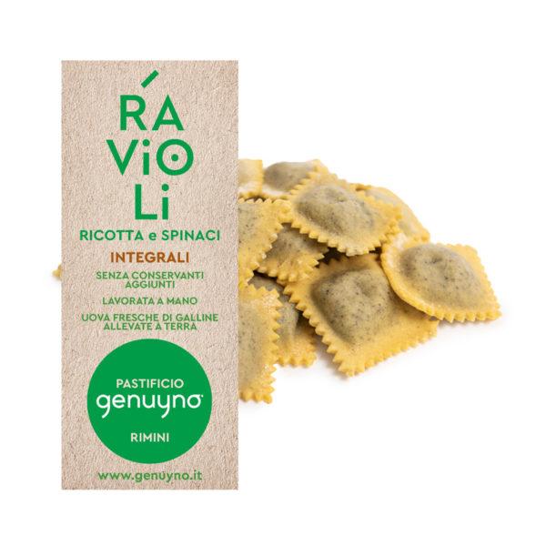 Ravioli integrali ricotta e spinaci Genuyno Rimini pasta fresca artigianale