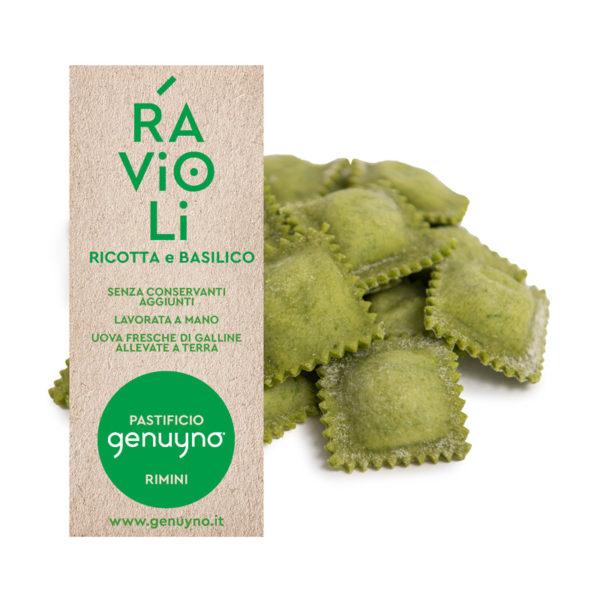 Ravioli ricotta e basilico Genuyno Rimini pasta fresca artigianale